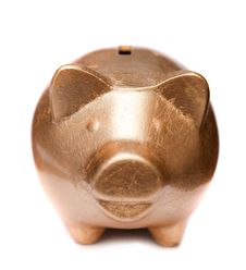 Golden Pig Moneybox Stock Photo