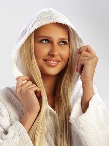 Free Blond Girl In A White Bathrobe Smiling, Closeup Stock Photo - 19238790