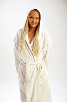 Free Pretty Girl In A White Bathrobe Stock Photo - 19238870