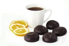 Chocolates And Cup Of Tea Stock Image