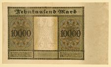 Free Antique 1922 German Y 10000 Deutsche Mark, Back Royalty Free Stock Photography - 19240657