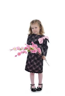 Pretty Little Girl In Party Dress With Flowers Stock Photos