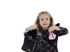 Free Pretty Little Child Girl With Empty Bag Stock Photos - 19242393