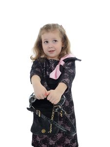 Free Pretty Little Child Girl With Empty Bag Royalty Free Stock Images - 19242399