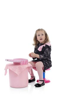 Pretty Little Girl In Children Party Playing Royalty Free Stock Images