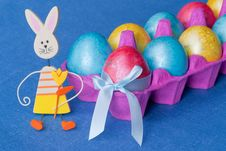Easter: Eggs And Funny Bunny. Royalty Free Stock Photography
