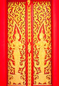 Golden Wood Carving,Traditional Thai Style Royalty Free Stock Images