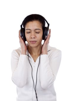 Free Attractive Woman With Headphones Listens To Music Stock Photography - 19243012