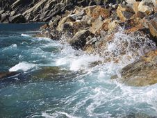Cinque Terre Waves In Italy Royalty Free Stock Photo
