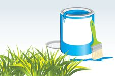 Jar With A Paintbrush And Grass Stock Images