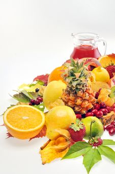 Various Fruits And Juice Royalty Free Stock Photo
