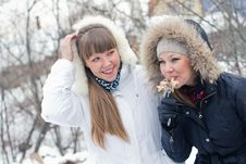 Free Two Girls On Winter Picnic Royalty Free Stock Photo - 19243705