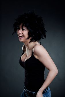 Free Smiling Woman Wearing A Black Wig Royalty Free Stock Photography - 19244017