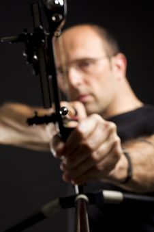 Front View Of Bowman With Bow And Arrow. Royalty Free Stock Image