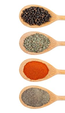 Various Of Spices In Wooden Spoon Stock Photography