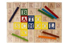 Free Wooden Blocks Back To School Royalty Free Stock Photography - 19245197