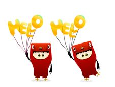 Free Cute Hello Character With Balloon Vector Royalty Free Stock Photo - 19245535