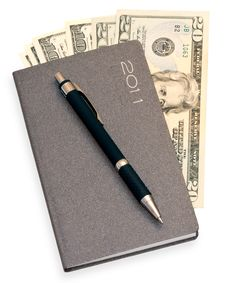 Free Notepad With Money And Pen Stock Photo - 19245940