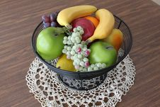 Free Bowl Of Fruit On Lace Royalty Free Stock Photography - 19246607