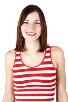 Free Young Woman In Bright Shirt Smiling, Isolated Stock Photography - 19246802