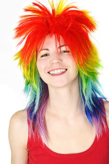 Free Woman In Multicolored Clown Wig Smiling Stock Images - 19246814