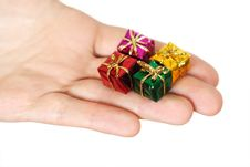 Free Closeup Of Human Hand Holding Little Gifts Royalty Free Stock Photo - 19246815
