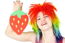 Beauty Woman In Multicolored Wig With Strawberry Royalty Free Stock Photos