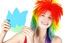 Free Beauty Woman In Multicolored Wig With Paper Flower Royalty Free Stock Images - 19246819