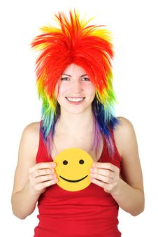 Free Beauty Woman In Multicolored Wig With Smile Card Stock Image - 19246821