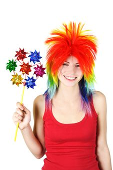 Free Woman In Multicolored Wig With Pinwheel Stock Photography - 19246822