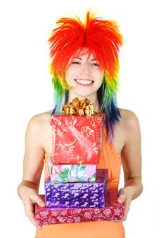 Free Woman In Multicolored Wig With Many Gifts Royalty Free Stock Image - 19246826
