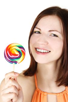 Young Brunette Girl Holding Big Lollipop Stock Photography