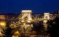Budapest At Night With Chain Bridge Stock Photos