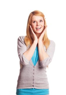 Excited Woman Royalty Free Stock Photos