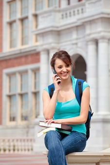 Free Female Student On Cell Phone Stock Image - 19248271