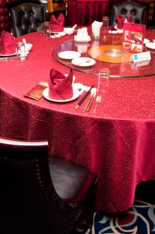 Chinese Restaurant Table Setup For VIP Royalty Free Stock Image