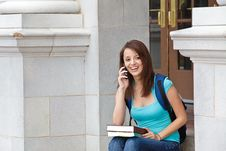 Free Student Talking On Cell Phone Stock Image - 19248391