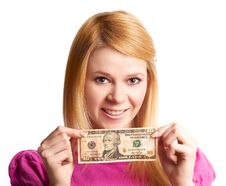 Free Girl With Money Royalty Free Stock Photography - 19248397