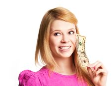 Free Girl With Money Royalty Free Stock Photo - 19248465