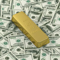 Free Golden Bar Or Ingot On Dollar Banknote Background Stock Photography - 19250422