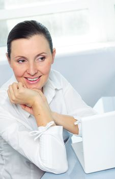 Free Smiling Young Business Woman Using Laptop Stock Photos - 19250583