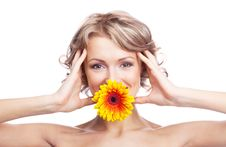 Free Woman With A Flower Royalty Free Stock Image - 19251356