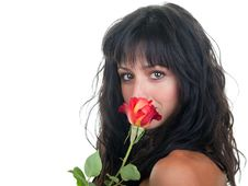 Woman Smelling A Rose Stock Photos