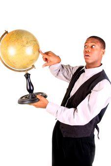 Man Pointing At Globe, Surprised Royalty Free Stock Image