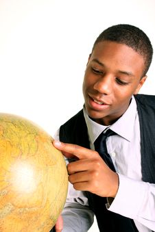 Free Man Holding Globe With A Smile Royalty Free Stock Photography - 19251557