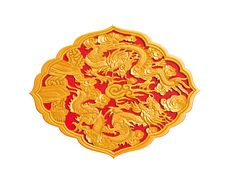 Free Golden Dragon Decorated On Red Wood Stock Images - 19251584