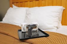 Free Coffee Or Tea Maker On Bed Stock Image - 19251651