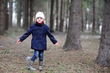 Free Cute Little Girl Has Fun In Spring Forest Royalty Free Stock Image - 19251806