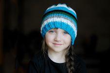 Free Cute Little Girl In Stripe Warm Hat Stock Image - 19251811