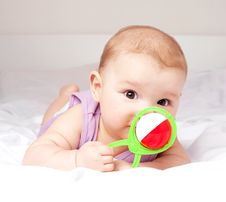 Free Baby On The Bed Royalty Free Stock Photo - 19251915